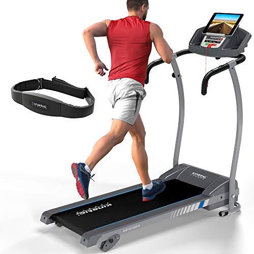 Kinetic Sports KST3100FX Laufband inkl. Pulsgurt 1100 Watt leiser Elektromotor 12 Programme, GEH- und Lauftraining, Tablethalterung, stufenlos einstellbar bis 12 km/h, klappbar