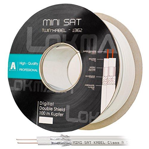 HB Digital 100m Koaxial Twin-SAT Kabel Reines KU Kupfer Klasse A Weiß extra dünn 4,6mm Ø A Class Koax Kabel Antennenkabel 100dB 2-Fach geschirmt für DVB-S / S2 DVB-C doppelt dual 2-Fach Vollkupfer