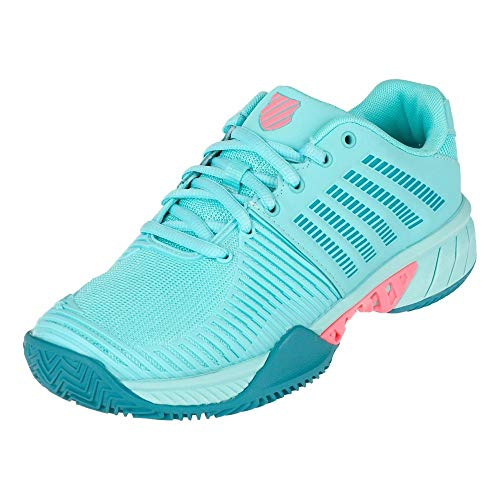 K-Swiss Performance Express Light 2 HB, Zapatillas de Tenis Mujer, Azul (Aruba Blue/Maui Blue/Soft Neon Pink 436), 39.5 EU