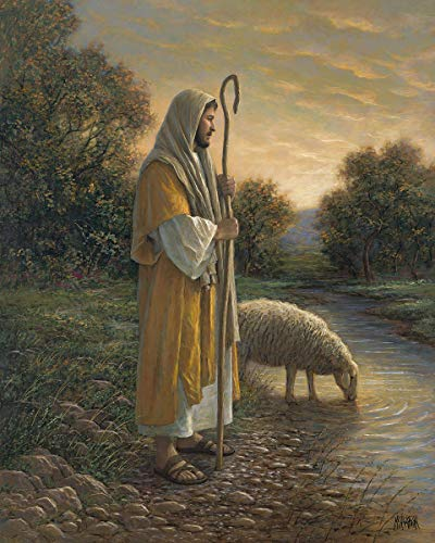 David Textiles Jesus and Sheep 36 X 44 Panel Cotton Fabric