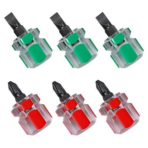 Destornillador Corto,3 Piezas Mini Destornillador de Cabeza Plana, 3 Piezas Destornillador Mini Phillips, Mini Destornillador para Máquina de Coser Para Snarrow Place (Rojo y Verde)