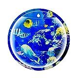 DIWA Acuario de Vidrio montado en la Pared, Tanque de Pescado Redondo Grande Transparente, Estilo clásico para Oficina/Dormitorio/Inodoro (Color : Blue A Large)