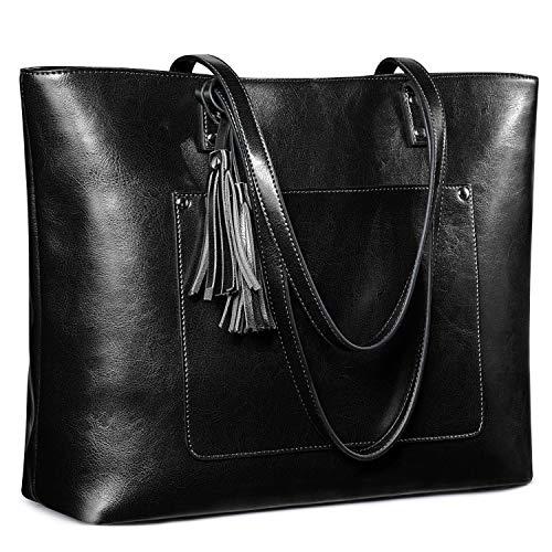 s zone shoulder bags S-ZONE Women Genuine Leather Tote Bag Vintage Shoulder Purse Large Work Handbag