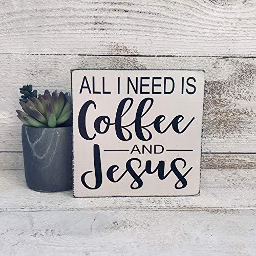 Ced454sy READY TO SHIP Alles wat ik nodig heb is koffie en Jezus hand geschilderd hout teken mini bord plank sitter keuken bord boerderij stijl koffiebord