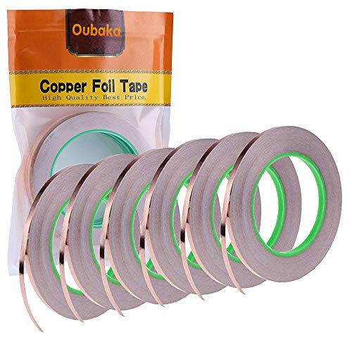 6 Pack Copper Foil Tape with Double-Sided Conductive Adhesive - EMI Shielding,Stained Glass,Soldering,Electrical Repairs,Slug Repellent,Paper Circuits,Grounding (1/4inch X 21.8yards)