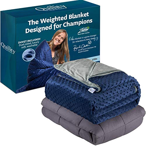 Quility Premium Cotton 60 by 80 in for Full Size Bed 12 lbs Adult Weighted Blanket Grey with Removable Duvet Cover Navy Blue