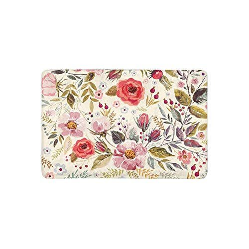 """InterestPrint Romantic Flowers and Leaves Elegant Floral Theme Doormat Indoor Outdoor Entrance Rug Floor Mats Shoe Scraper Door Mat Non-Slip Home Decor, Rubber Backing 23.6""""(L) x 15.7""""(W)"""