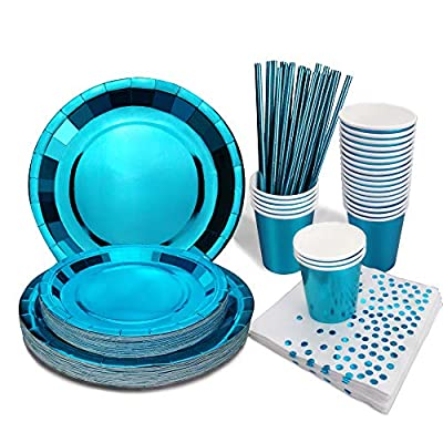 Blue Party Decorations Party Supplies Heavy Duty Dinnerware Set Disposable Metallic Blue Paper Plates Napkins Cups Straws for Baby Shower,Birthday,Graduation,Christmas -125PCS