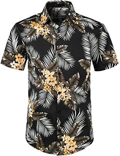 JOGAL Herren Blumen Kurzarm Baumwolle Hawaii Hemd Large SchwarzPalme