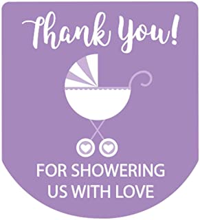 Hand Sanitizer Labels Thank You Baby Shower Stickers Set of 90 (Purple)