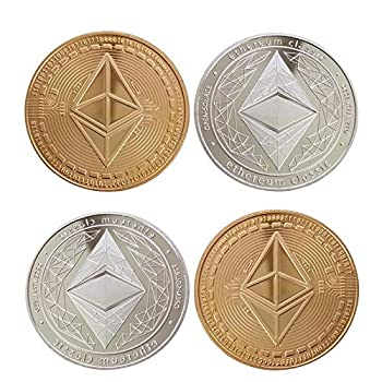 4Pcs Ethereum Coin Gold and Silver Physical Blockchain Cryptocurrency for Securely Storing Crypto Offline Crypto Currency for Ethereum Network