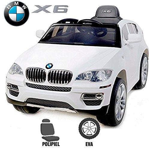Elektroauto für Kinder BMW X6elterliche babycoches, mit Offizielles BMW, Fernbedienung, 12V, Einsitzer, Kautschuk, Sitz Kunstleder Rollen weiß