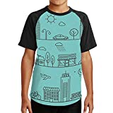 Vector City - in Linear Style.Icons and - City,Unisex T-Shirts Top Tees Athletic Shirts Outline XL