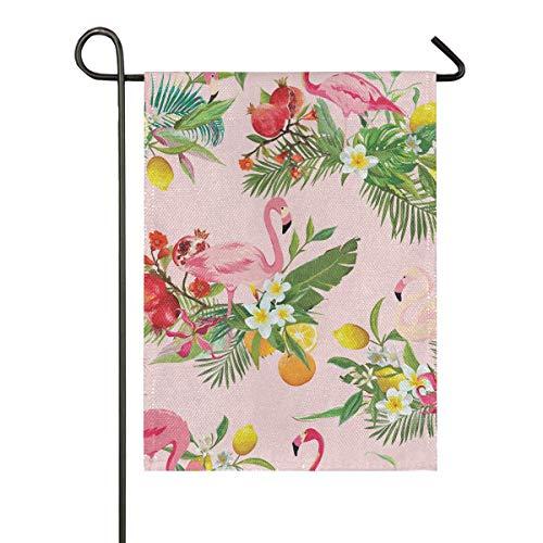 JIRT Drapeau de Jardin Bienvenue Cour Flamingo Lemon Tree Accueil Bannière Cadeau 12x18 Pouce Double Face