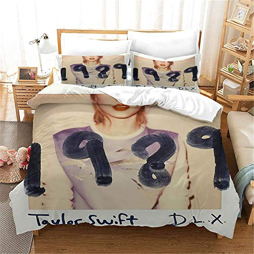 299 Duvet Cover Sets 3D Taylor Swift Printing Comfortable Bedding Quilting Bedroom Set 100% Microfiber (1 Duvet Cover + 2 Pillowcases) F-Twin(172x218cm)