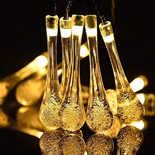Lámpara de cadena solar al aire libre 40 lámpara de cuento de hadas impermeable 24 pies de agua caída colorido decoración navideña familia jardín césped boda vacaciones de fiesta interior-Warmwhite