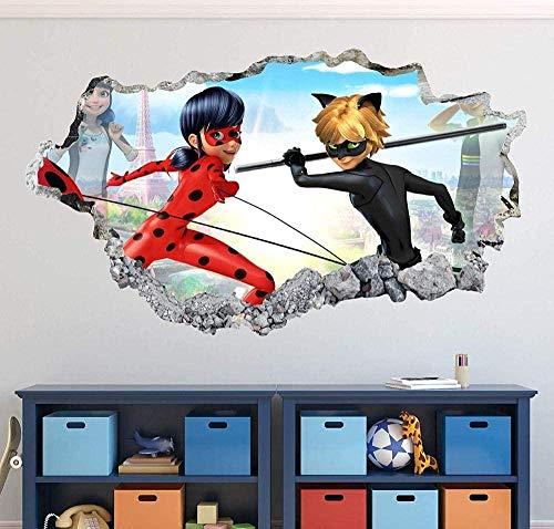 3D Wandtattoos Miraculous Wandtattoo Art Decor Marienkäfer 3D Smashed Sticker Wandbild Kinder Geschenk