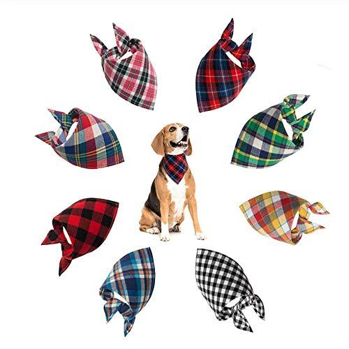 JLERA Hond Bandana, Driehoek Bibs Plaid afdrukken Sjaal Boog Ties Voor Kleine Tot Medium Honden Katten Huisdieren 8 STKS
