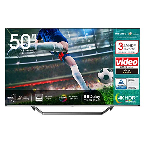 Hisense 50U7QF QLED 126cm (50 Zoll) Fernseher (4K ULED HDR Smart TV, HDR 10+, Dolby Vision & Atmos, Full Array Local Dimming, WCG, USB-Recording, Ultra Slim Design, Mittelstandfuß, Alexa Built-in)