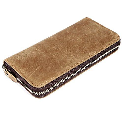 Mens Genuine Leather Long Wallet with Zipper RFID Blocking Vintage Bifold