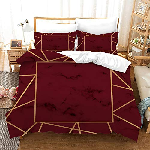 QXbecky Pink White Black Gold red 3D Marble Pattern   Bedding Soft Microfiber Quilt Cover Pillowcase 3-Piece Set Hidden Zipper