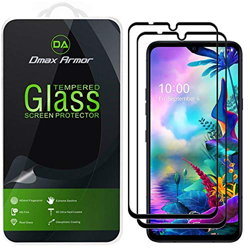 (2 Pack) Dmax Armor for LG G8X ThinQ Tempered Glass Screen Protector, (Full Screen Coverage) (Not Work for The Dual Screen) (Black)