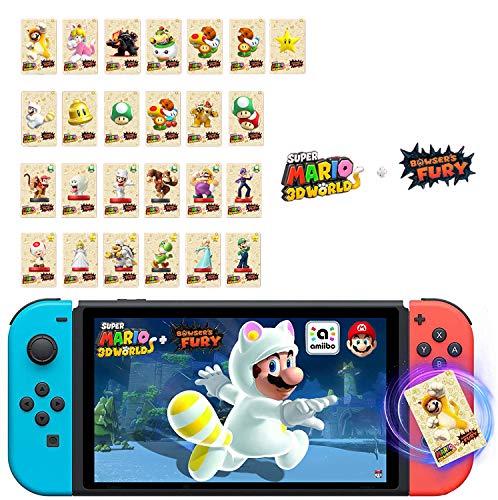 Xiaohudui 25 pcs Super Mario 3D World + Bowser's Fury NFC Amiibo Card Compatible for Switch/Lite/Wii U,Mini Cards