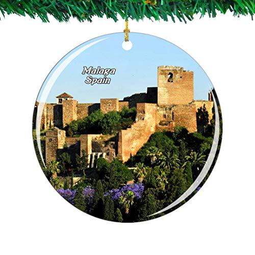 Weekino España Alcazaba Castillo Málaga Navidad Ornamento Ciudad Viajar Recuerdo Colección Doble Cara Porcelana 2.85 Pulgadas Decoración de árbol Colgante
