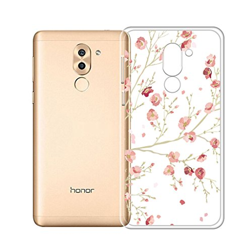 IJIA Hülle für Huawei Honor 6X Superdünne Transparente Rosa Plum Blume TPU Weich Silikon Stoßkasten Cover Handyhülle SchutzCover Handyhüllen Schale Hülle Tasche für Huawei Honor 6X