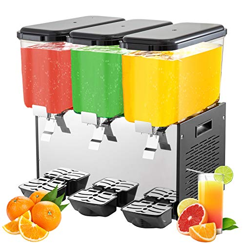 VEVOR Commercial Beverage Dispenser, 14.25 Gallon 54L 3 Tanks Ice Tea Drink Machine, 18 Liter Per...