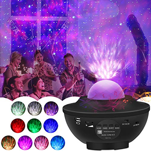GREPRO Sternenhimmel Projektor Lampe, Baby Led Projektor Nachtlicht Sternenhimmel mit Bluetooth Lautsprecher-Musik, Auto-off-Timer und Fernbedienung für Ballsaal,Geburtstagsfeier, Bar, Familientreffen