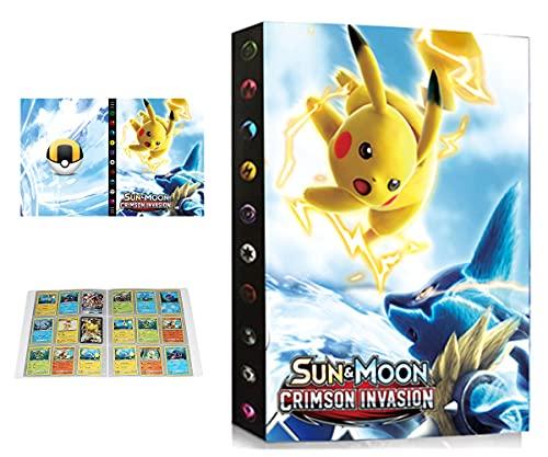 Álbum Compatible con Pokemon, Álbum Titular Compatible con Cartas Pokémon, Carpeta Álbumes Compatible con Cartas Pokemon, 24 Páginas con capacidad para 432 cartas (432-SD-PIKAQIU)