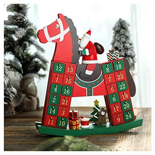 Detazhi 2019 Weihnachten hölzerne Adventskalender für Kinder mit 25 Spielzeug-Stufern, Holz einzigartiger Weihnachtszählung Adventskalender für Jungen, Mädchen, Teenager mit Schubladen