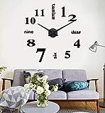 Yosoo DIY Reloj de Pared 3D Moderno Extraíble Creativo con Números Adhesivos de Acrílico para la Decoración Adorno de hogar (Negro)
