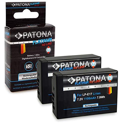 PATONA 2x Platinum Batteria LP-E17 completamente decodificato compatibile con Canon EOS M3 M5 M6 770D 8000D Rebel T6i T6s Kiss X8i