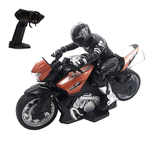pop mart Remote Control Motorcycle Toy Stunt Performing Car Toys Rechargeable Blue RC Motor Bike Safe & Durable Birthday Xmas Gift for Kids Boys Girls