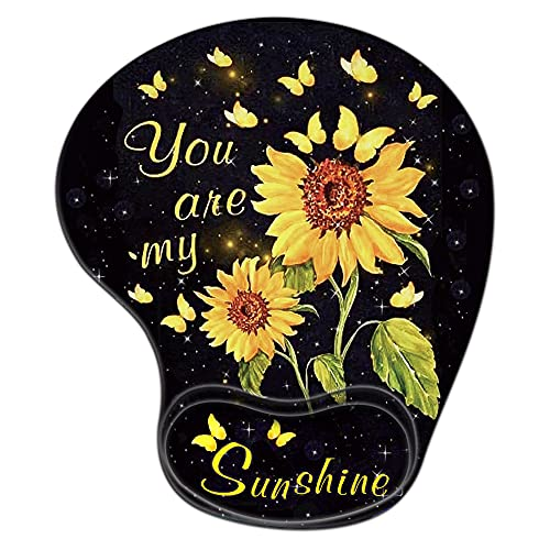 Gaming Mouse Pad with Wrist Support,Glorious Ergonomic Mousepad, Cute Computer Laptop Black Mouse Pads as Home Office Decor Accessories or Ideal Sunflower Floral