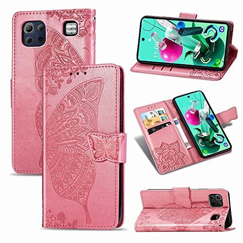 Teléfono Flip Funda Funda de billetera for LG K92 5G, Caja de la cartera de la billetera de la banda de parachoques a prueba de choques / correa de muñeca / funda floral mariposa patrón cartera Tapa t