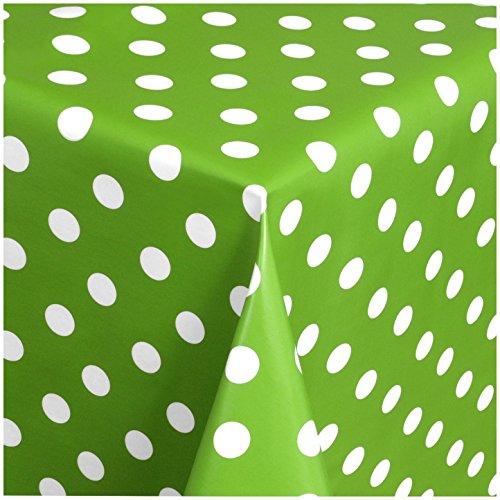 TEXMAXX Wachstuchtischdecke Wachstischdecke Wachstuch Tischdecke abwaschbar (150-05) - 100 x 140 cm - PVC Tischdecke abwischbar, Punkte Muster in Grün-Weiss