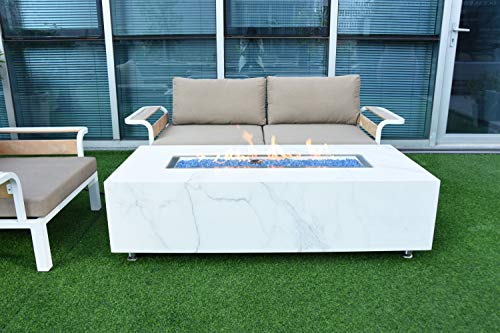 AMS Firepit | White Carrara Marble Porcelain Fire Table | Propane 60'' L x 28'' W x 17'' H