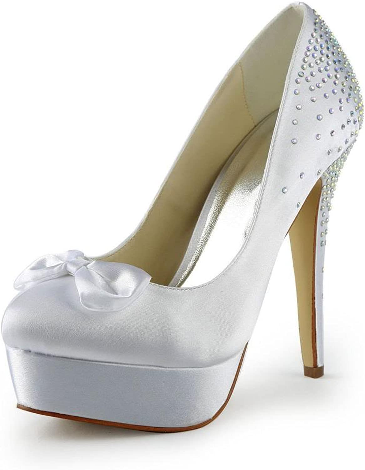 Jia Jia Women's Bridal 20113B Peep Toe Stiletto Heel Satin Wedding shoes