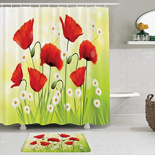 Juego de cortinas de ducha de 2 piezas con alfombra de baño antideslizante,Ambiente de primavera de amapola con amapolas y margaritas en la hierba florec,12 ganchos,Decoración de baño personalizada