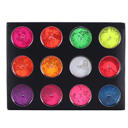 12 cajas de pintura corporal en polvo fluorescente, polvo de pigmento seguro que brilla en la oscuridad, decoración de uñas en polvo de pigmento fluorescente para bricolaje para pintura acrílica, bell