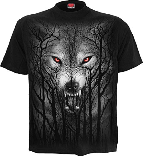 Spiral Forest Wolf Männer T-Shirt schwarz XL