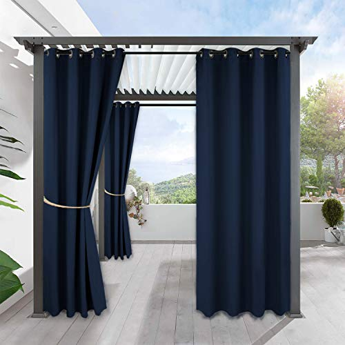 RYB HOME Outdoor Curtains for Pergola - Country Rustic Waterproof Outdoor Curtains Privacy for Sun Room Garage Window Room Divider Patio Door, Wide 52 x Long 95, 1 Panel, Navy Blue