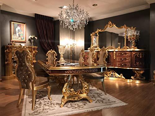 Casa Padrino Conjunto de Comedor Barroco de Lujo marrón/Oro Antiguo - 1 Mesa de Comedor y 8 Sillas de Comedor - Muebles de Comedor de Estilo Barroco - Noble y Magnífico