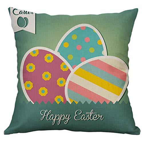 Moent Funda de cojín de lino y algodón con diseño de huevos de Pascua para decoración del hogar