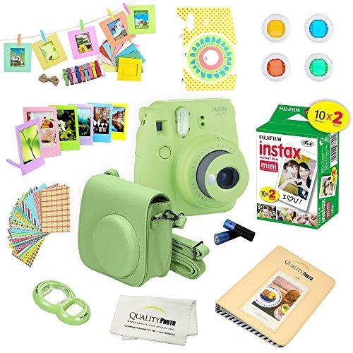 Fujifilm Instax Mini 9 Camera + Fuji INSTAX Instant Film (20 Sheets) + 14 PC Instax Accessories kit...