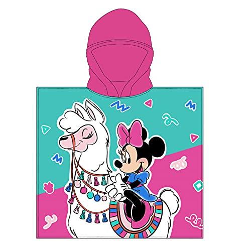 Poncho - Toalla Infantil con Capucha de niño y niña Licencia Oficial Disney (Minnie Mouse C)