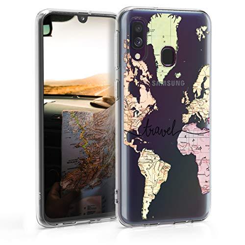 kwmobile Cover Compatibile con Samsung Galaxy A40 - Custodia in Silicone TPU - Backcover Protettiva Cellulare Mappa del Mondo Nero/Multicolore/Trasparente